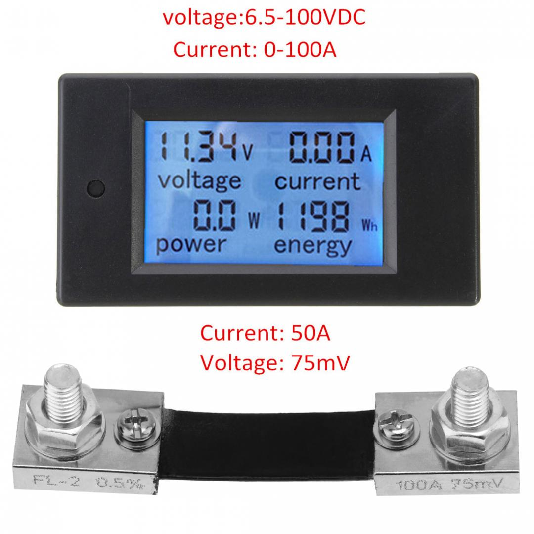 DC 6.5~100V 0-100A LCD Digital Combo Panel Display Volt Amp Power Watt Meter US 5
