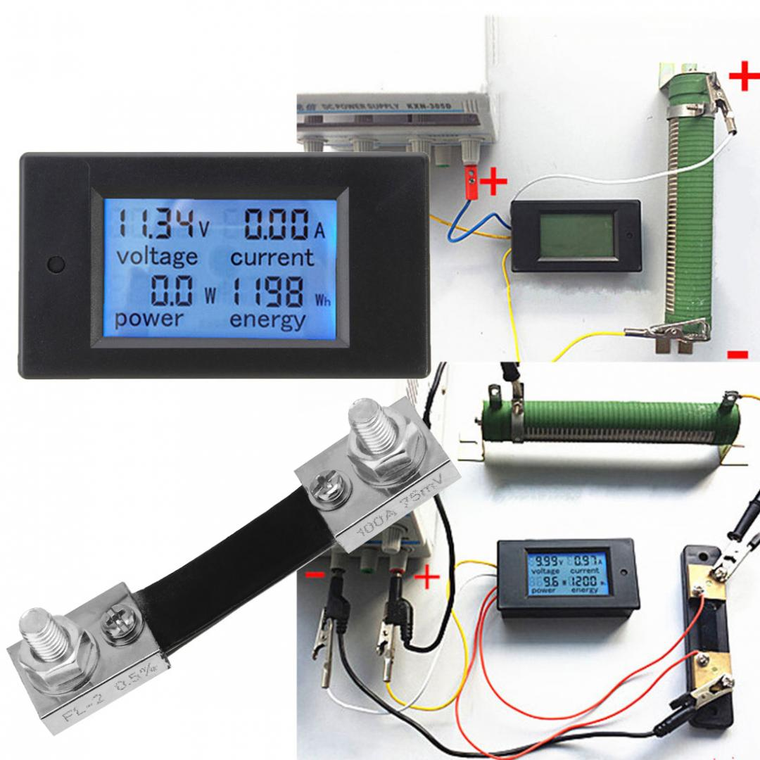 DC 6.5~100V 0-100A LCD Digital Combo Panel Display Volt Amp Power Watt Meter US 6