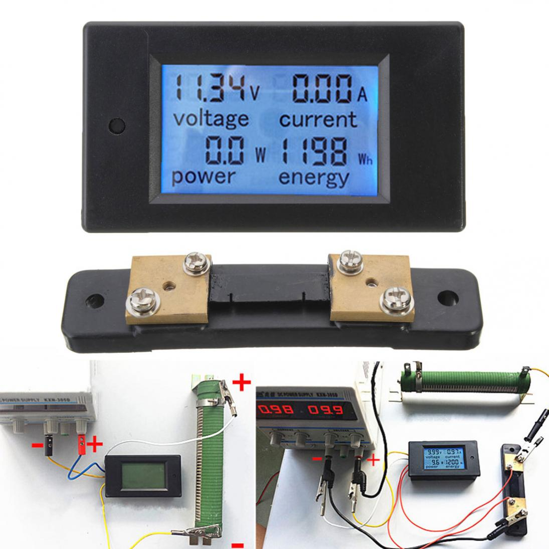 DC 6.5~100V 0-100A LCD Digital Combo Panel Display Volt Amp Power Watt Meter US