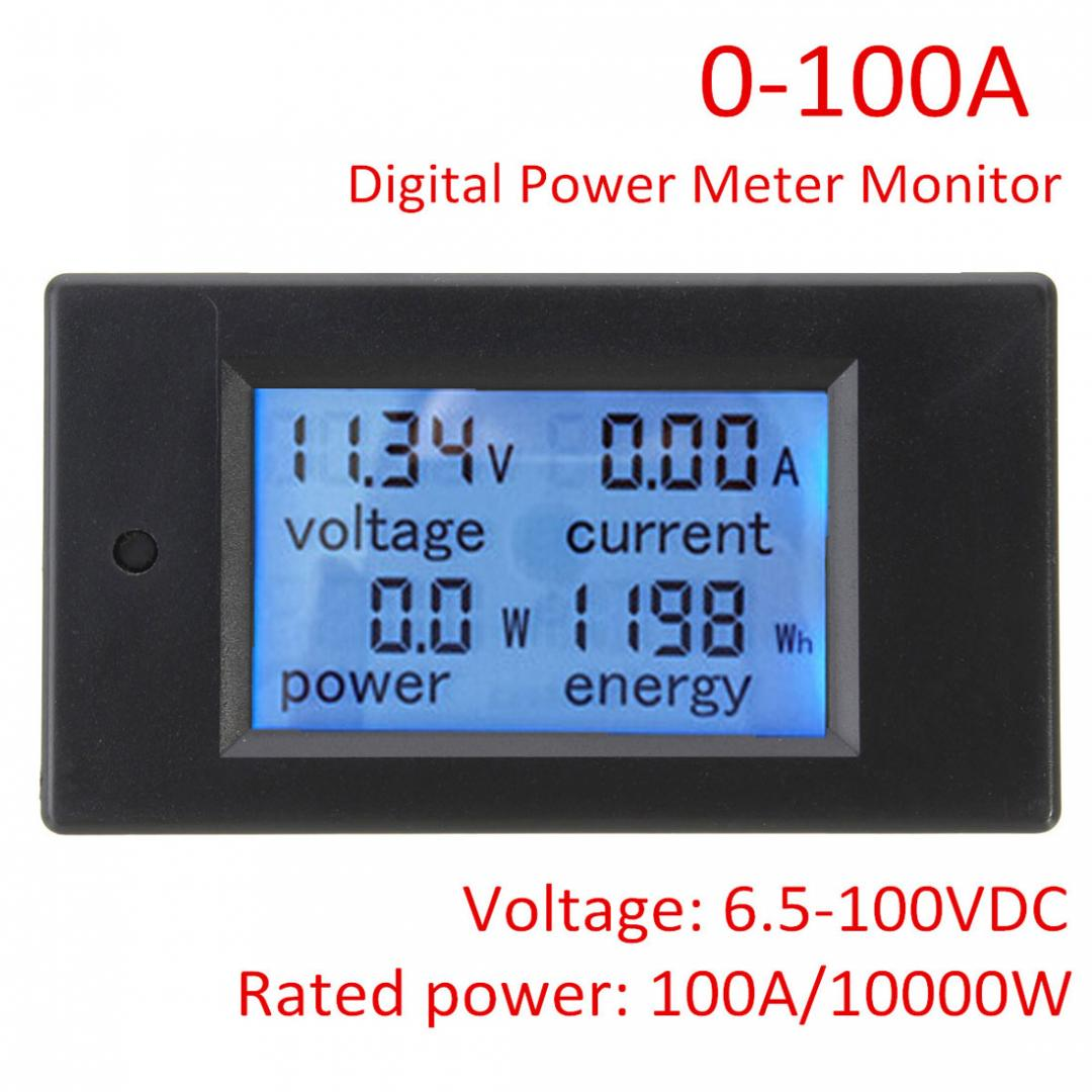 DC 6.5~100V 0-100A LCD Digital Combo Panel Display Volt Amp Power Watt Meter US 2